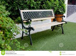 white classic bench in the garden stock photo image 49322280