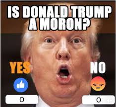 Moron Meme - america is donald trump a moron yes or no see facebook