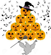 vintage halloween ghost singing pumpkins royalty free cliparts
