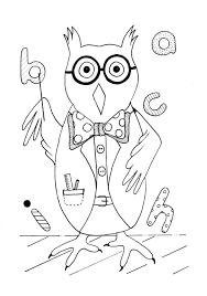 smart owl back to coloring page allfreekidscrafts com