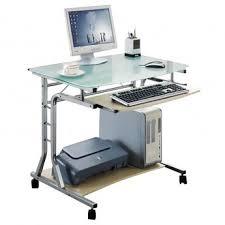 bureau ordinateur en verre bureau informatique roulant verre érable