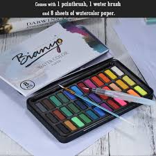 36 colors solid watercolor paint pigment with water brush sales