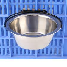 1Pc Cage Hanging Dog Bowl Stainless Steel Travel Feeding Feeder
