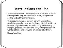 multiplying and dividing integers notes and practice resources tpt