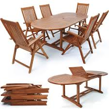 6 seater patio furniture set wooden garden dining table and chairs set