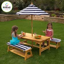 Kidkraft Storage Bench Kidkraft Outdoor Table And Bench Set With Cushions And Umbrella 00106