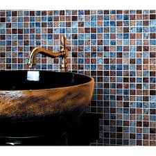 glossy glass tile backsplash ideas bathroom mosaic sheets brown