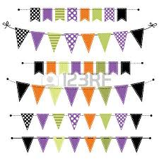 halloween banner bunting or flags on transparent background