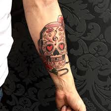 jdm tattoo sleeve sugar skull tattoo on man u0027s forearm with love rose and music