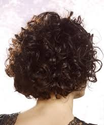 curly and short haircut showing back short curly casual hairstyle with asymmetrical bangs black