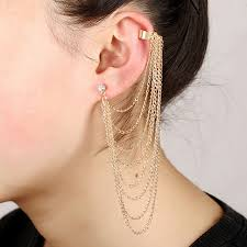 cuff earrings with chain hot girl stylish rock silver gold color chain tassel dangle