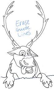 draw sven reindeer frozen step step tutorial