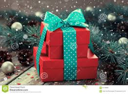 present box with bow ribbon decoration of fir tree and conifer