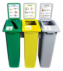 3 Bin Cabinet 3 Bin Recycling 75l Attached Recycle Recycling Plastic Waste Bins