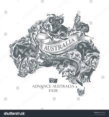 animals on map australia illustration vector stock vector