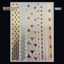 60pcs lot indian arabic designs golden metal flash color tattoos