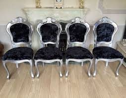 Refurbished Chairs New Refurbished Silver Louis Italian Rococo Shabby Chic