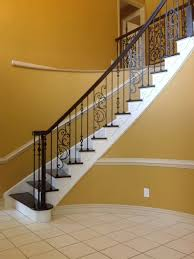 Refinish Banister Full Rail And Steps Refinish W Iron Balusters And Scroll Panels