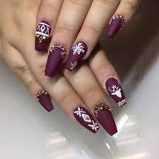 plum white gold holiday coffin nails christmas nail nailart