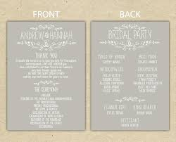 reception program template template half fold wedding program template reception thank you