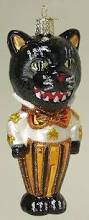 old world christmas dapper black cat halloween glass ornament
