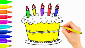how to draw birthday cake coloring pages for kids youtube