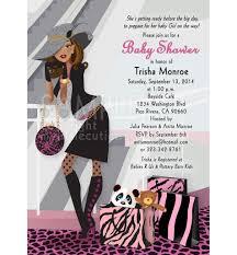 baby bump shower invitation chic diva shopper pink