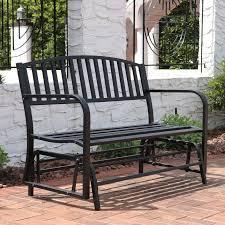 Patio Furniture From Walmart by Sunnydaze 50 Inch Black Steel Outdoor Patio Glider Bench Walmart Com