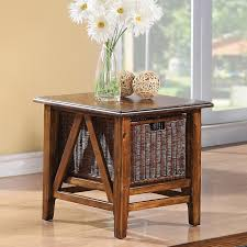Side Table With Storage by Rectangular End Table With Storage Basket By Riverside Furniture