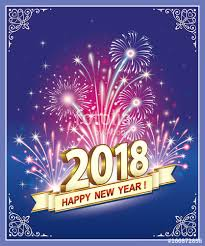 happy new year post card happy new year 2018 postcard with fireworks on a blue background