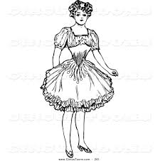 circus clipart of a vintage black and white female circus