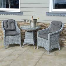 Kensington Bistro Chair Henley Bistro Set Slate Rattan 2 Seat Set Outside Edge Metal