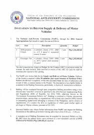 bid for invitation to bid for supply and delivery of motor vehicles