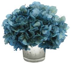Fake Flower Centerpieces by Mercury Glass Votive Blue Hydrangea Transitional Artificial
