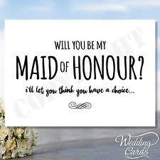 Asking Maid Of Honor Poem Maid Of Honour Card Ebay