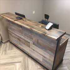 Buy A Hand Crafted Barn Wood Reception Desk Front Counter
