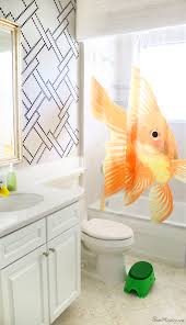 bathroom stencil ideas stenciling and kids bath makeover house mix