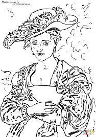 the straw hat by peter paul rubens coloring page free printable