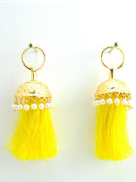 lotan earrings flamingo jhumka earrings with yellow threads