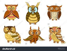 cute cartoon owls owlets eagle owl stock vector 358492268