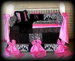 Pink Toddler Bedding Custom Made Baby N Toddler Bedding Black N White Damask N Polka