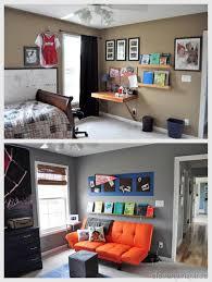 boys gray and orange bedroom reveal decorating boys room