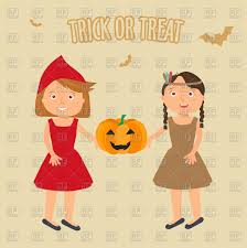 little girls in halloween costume little red riding hood and