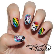 kids rainbow unicorns nail wraps nail stickers hand painted