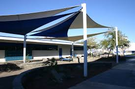 decoration ideas contemporary patio blue fabric shade sails sun