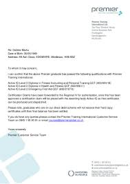 Balance Certification Letter Debbie Marks Confirmation Letter Of Pass From Premier