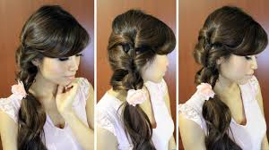 everyday fancy loop ponytail hairstyle for medium long hair