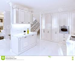 spacious white kitchen in the art deco style stock illustration