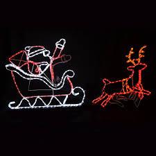 multi coloured flashing moving led light santa sleigh