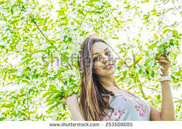beautiful fashion model blossoms stock photo